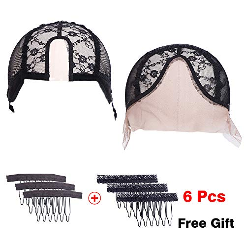 U-part Lace Cap with Adjustable Straps Lace Front V-part Lace Wig Cap For For Making Wigs On The Back Mesh Hair Nets(2 Packs)