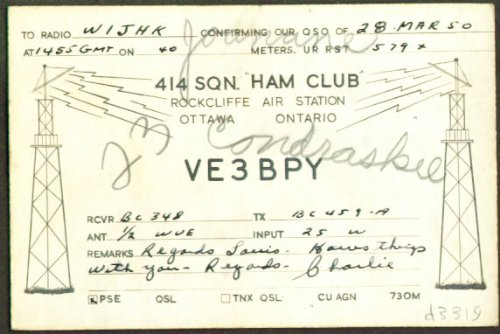 Rockcliffe Air Station ON QSL Ham Radio card