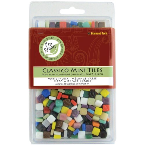 Diamond Tech 63016 16-Ounce Jennifer's Mosaics Assorted Classico Glass Tile, Mini ()