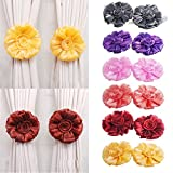 New 6 Colors 1Pair Rose Flower Curtain Tieback Buckle Clamp Hook Fastener For Home Decor^Yellow