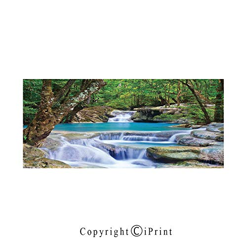 (Waterfall Large Premium Quick Dry Cotton & Microfiber Bath Towel,Fairy Image of Asian Waterfall by The Rocks in Forest Secret Paradise Decorative,for Travel Sports & Beach,W70.8 x L31.4 Green Blue)
