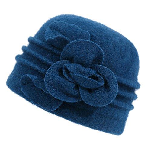 Dantiya Women's Winter Warm Wool Cloche Bucket Hat Slouch Wrinkled Beanie Cap with Flower; Blue; One Size - Knit Wool Hat