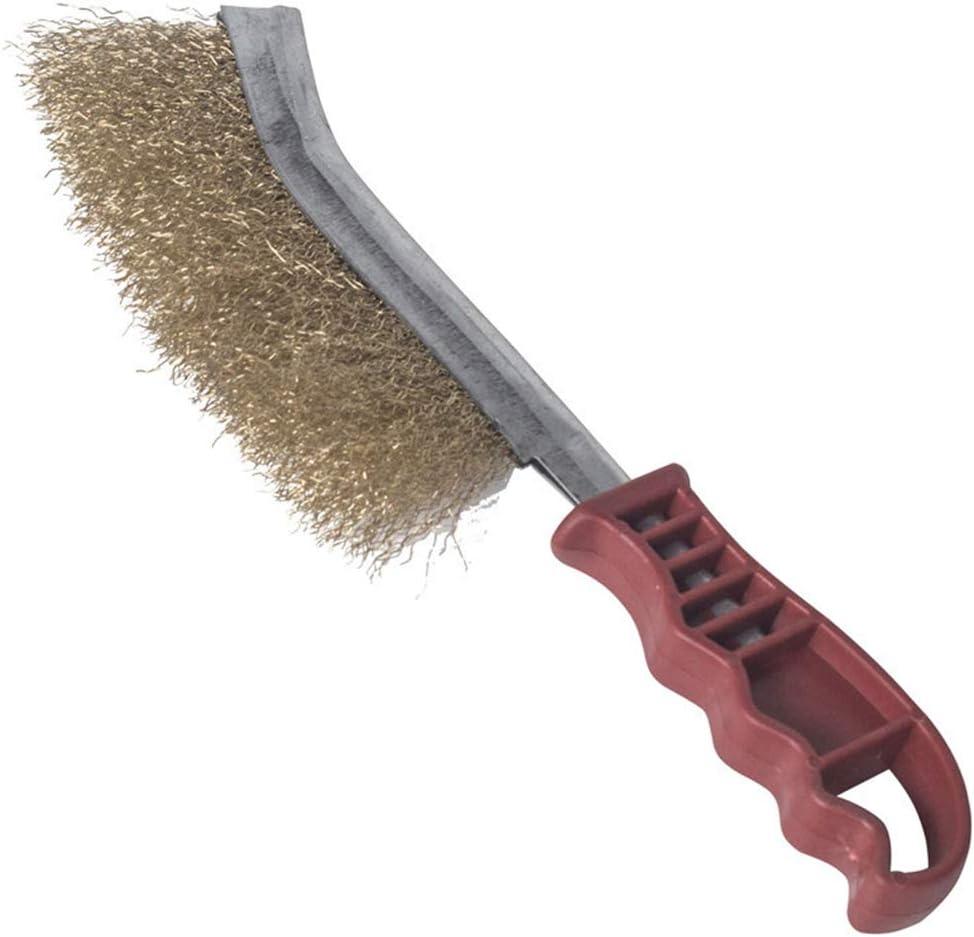 lat/ón y nailon para limpiar la escoria de soldadura y el /óxido Cepillo de alambre para mamposter/ía con mango curvado de acero inoxidable