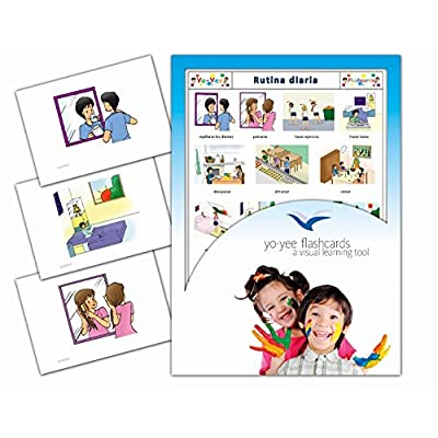 Tarjetas de vocabulario - Rutina diaria - Daily Routines Flash Cards in Spanish for Toddlers 2-4, Kids, Children and Adults: Toys & Games