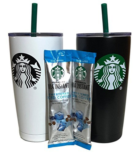 Gifts Mug Holiday - Holiday Starbucks Tumbler Gift Set Bundle With VIA Instant Sweetened Iced Coffee Packets, 20 oz, Black and White