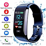 Fitness Tracker, Activity Tracker with Pedometer Blood Pressure Heart Rate Monitor IP68 Waterproof Step Calorie Distance Tracker Call SMS SNS Remind for Men Women Kids Android IPhone (Blue)
