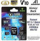 TF Card 32GB Micro SD Card 4 Pack Plus Adapter. Amplim High Speed 32 GB Class 10 MicroSDHC Micro SDHC Mini SD Memory Card for Nintendo, Android Phone Samsung LG Moto, GoPro Hero, Drone, Roku, Cameras