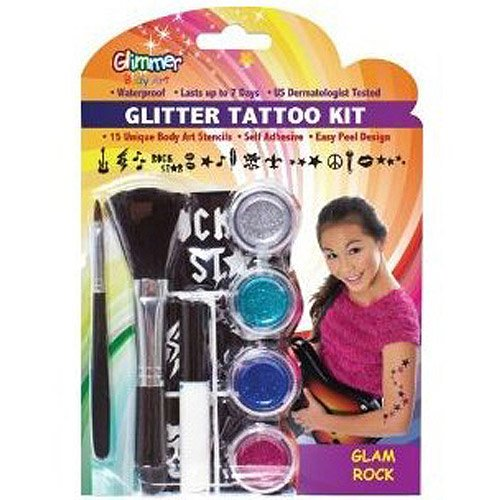 Glitter Tattoo Glam Rock Kit - Glimmer Art Glitter Tattoo Kit, Glam