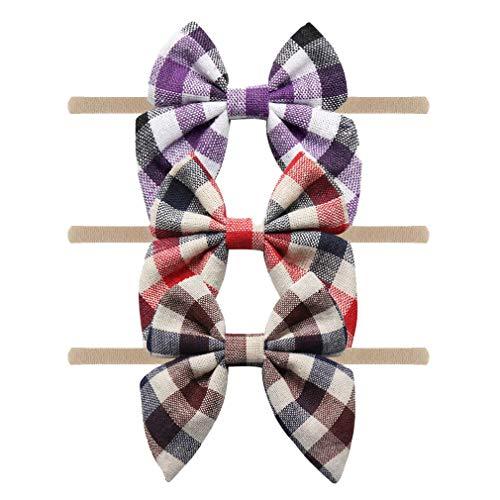YanJie Baby Nylon Bow Headbands - 3 Pack Plaid Nylon Headband Baby Gift Photography Hair Bow (GZSSNL-2)