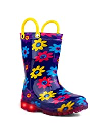 """Chillipop Light Up Rainboots for Boys, Girls & Toddlers with Fun Kid Prints with """"5 Lights"""""""
