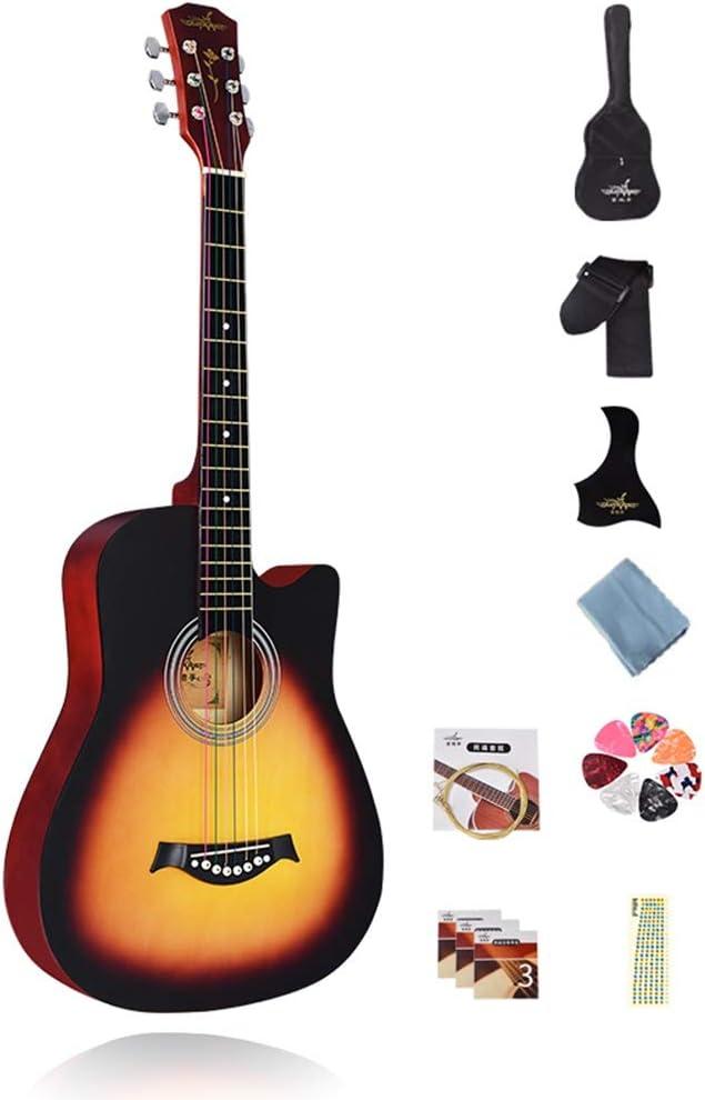YJFENG Portátil Guitarra Acústica,Cuerda De Latón Panel De Olmo ...
