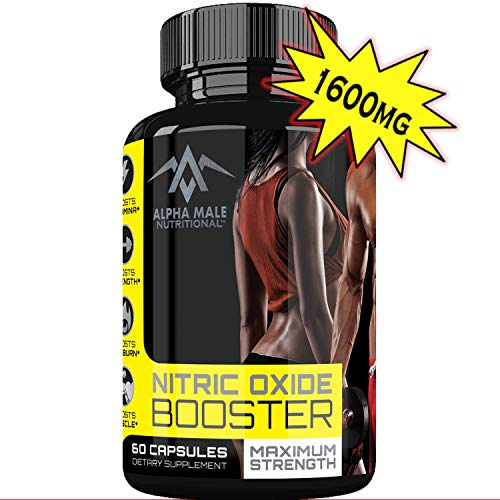 Alpha Male Nutritional Nitric Oxide Booster – Powerful 1600MG Nitric Oxide Booster and Muscle Builder for Strength, Energy, Blood Flow, Boost Libido, Weight Loss and Endurance – 60 Capsules