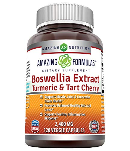 Amazing Formulas Boswellia Extract Turmeric & Tart Cherry 2400mg Veggie Capsules - Supports Muscle, Joint & Connective Tissue Health, Inflammation Response (120 Count)
