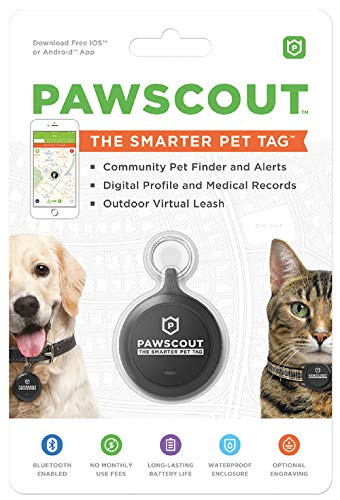 Pawscout Smarter Pet Tag: Dog & Cat Community Pet Tracker (Bluetooth, not GPS), Medical Profiles, Virtual Pet Leash, Walk Tracker, Pet Points of Interest, No Monthly Fees ()