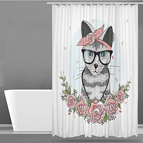 VIVIDX Custom Shower Curtain,Kitten,Hipster Cool Cat with Spectacles Scarf Necklace Earrings and Flowers Little Hearts,Fashionable Pattern,W48x72L Multicolor
