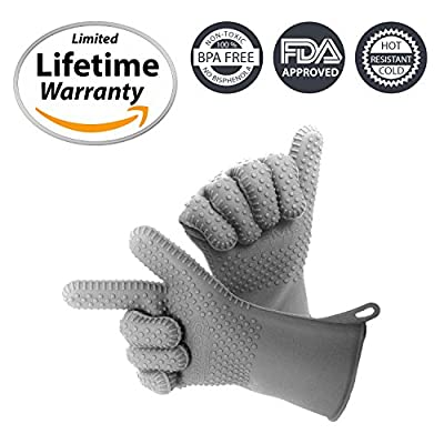 Cosmo Silicon Oven Mitts Gloves, Pot Holder for Cooking, Baking, Barbeque (BBQ), Cooking 5-Finger Protective Kitchen Gloves, Non-Slip Food Grade Silicone, Heat Resistant and Cold Resistant