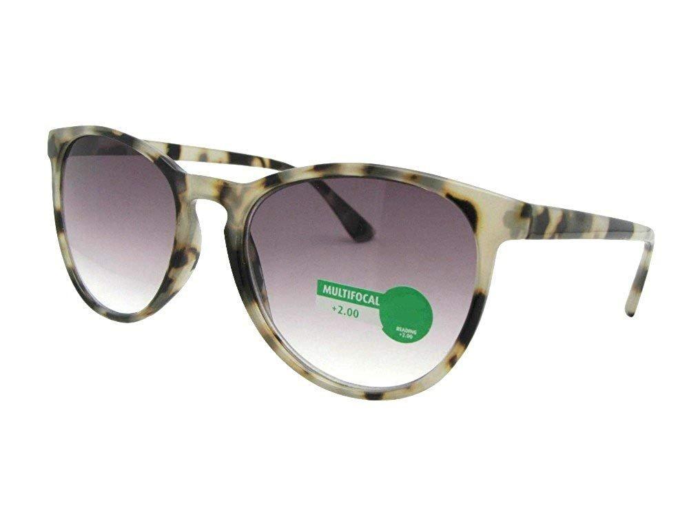 Retro Vintage Semi Round Progressive Multi Focus Lens Reading Sunglasses (Clear Tortoise-Gray Lenses, 2.50)