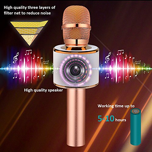 BONAOK Wireless Bluetooth Karaoke Microphone, Easter Gift 3-in-1 Portable Hand Speaker for iPhone/Android/iPad/Sony,PC and All Smartphone(Rose Gold) - Image 3
