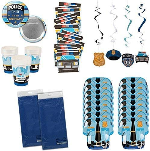 My Family Gift Shoppe Police Party Supplies Policeman Policewoman Birthday Party Tableware Bundle Set Includes Tablecloths, Plates, Napkins, Cups, Plus More for 16 Guests