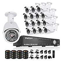 TMEZON HD 1080N 16 Channel AHD Security System with 16x 2.0MP Cameras 130ft Night Vision 2.8-12mm Zoom Lens Outdoor Video Surveillance DVR Kits NO HDD
