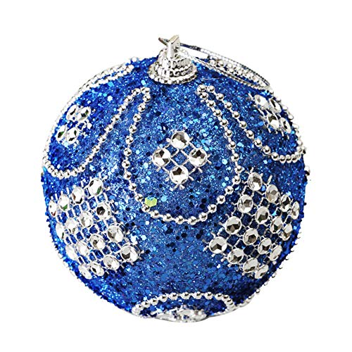 Christmas 8CM Sticky Diamond Chain Ball Rhinestone Glitter Baubles Balls Xmas Tree Ornament Decoration (Blue) ()