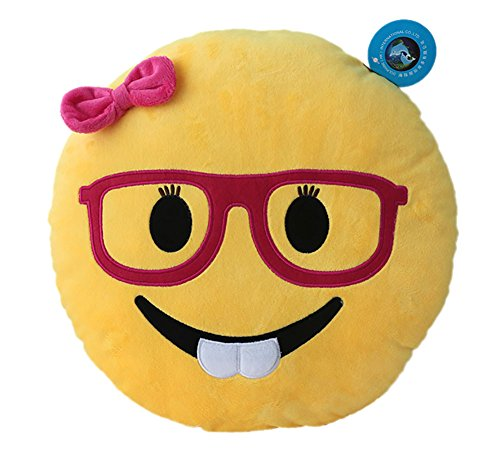 Girl Nerd Emoji Pillow