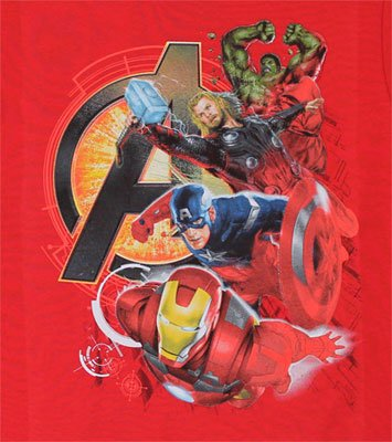 Assemble Heroes - Mavrel Comics Juvenile T-shirt: Juvenile 7 - Red
