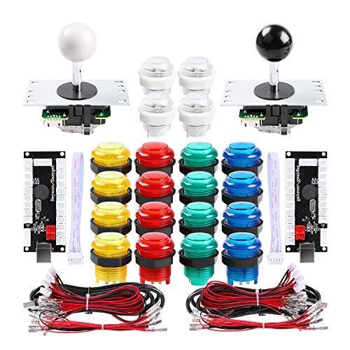Qenker 2 Player LED Arcade DIY Parts 2X USB Encoder + 2X Joystick + 20x LED Arcade Buttons for PC, MAME, Raspberry Pi, Windows (Mixed Color Kit) (Mame Pc)