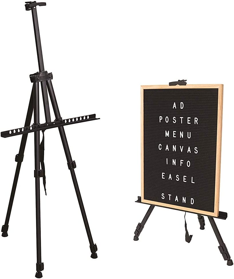 Offickle Easel Art Stand Painting - Sign Holder Artist Poster Photo Booth Banner Board Tripod Adjustable with Carrying Bag, Reinforced Aluminum Metal_BLK