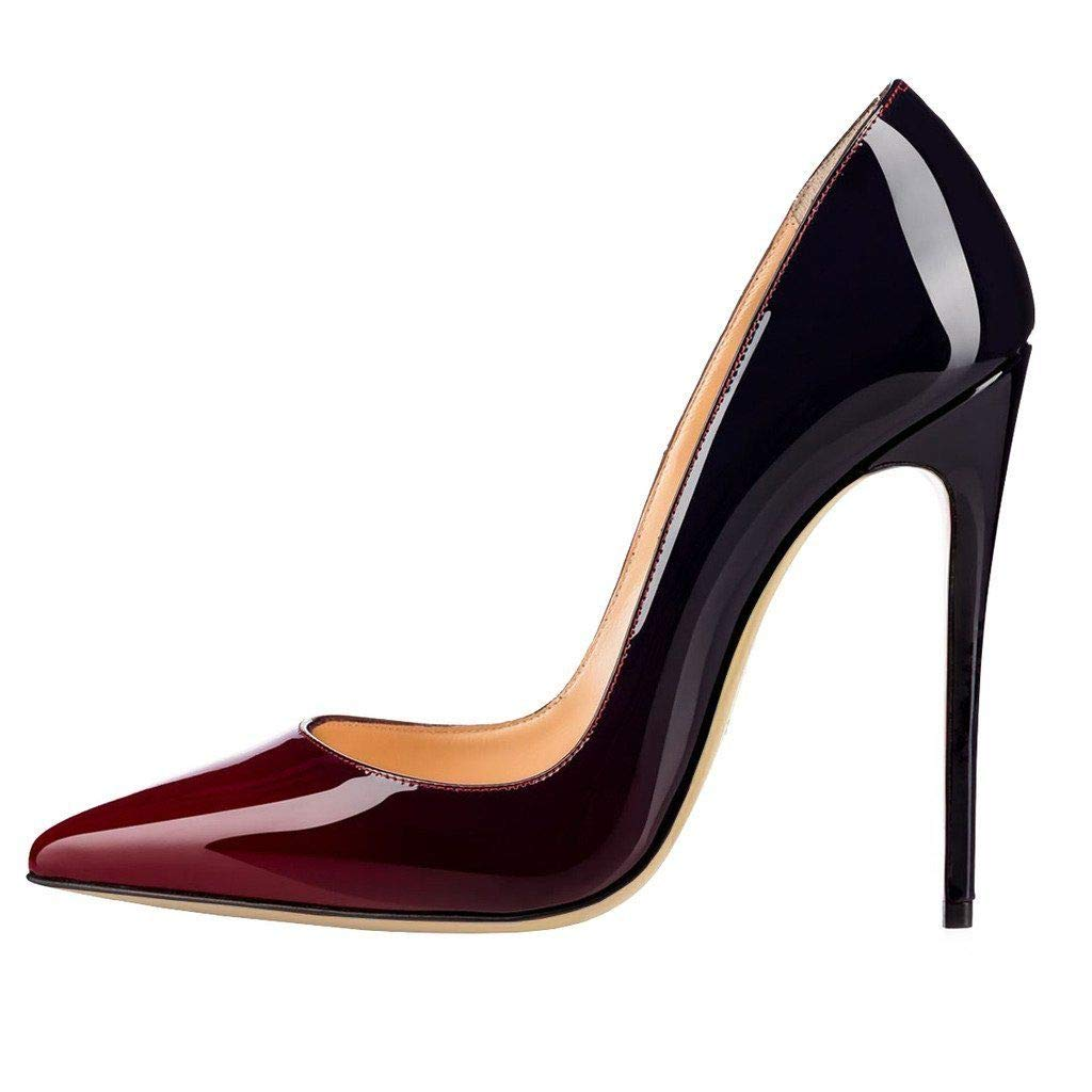 GRAPEBLACK Heels Addict's Women's shoes Pointed Toe Gradient Patent Leather Stiletto Heels Pumps