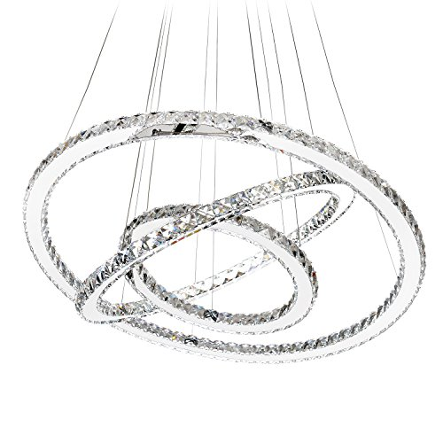 (MEEROSEE MD8825-864MNCW Crystal Modern LED Ceiling Fixtures Dining Room Pendant Lights Contemporary 3 Rings Adjustable Stainless Steel Chandelier, Cool White 3r)
