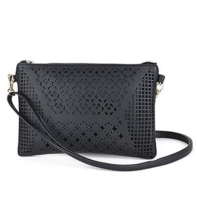 Jiaruo Vintage Girls Hollow Out Sling Leather Crossbody Bag Handbag Purse