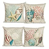 "Sunlilee 4 Pack Ocean Theme Squre Cotton Linen Throw Pillow Cushion Cover Case Conch Shell 18"" X 18"""