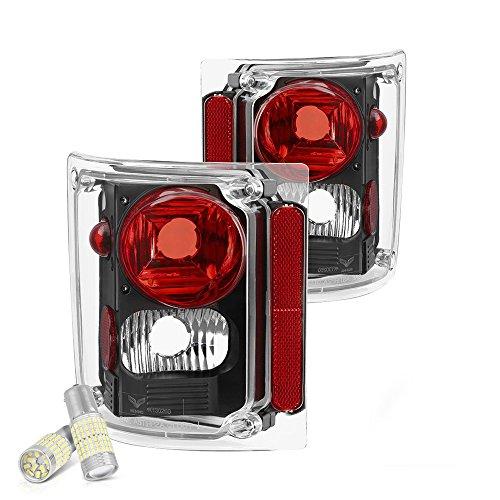[Full SMD LED Reverse Bulbs] - VIPMOTOZ For 1973-1987 Chevy GMC C/K 1500 2500 3500 Pickup Suburban Tail Lights - Matte Black Housing, Driver and Passenger Side -