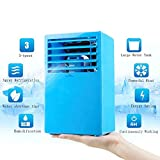 Madoats 9.5-inch Super Mini Portable Air Conditioner Small Desktop Fan Quiet Personal Table Fan Mini Evaporative Air Circulator Cooler Refrigeration Humidifier,Blue