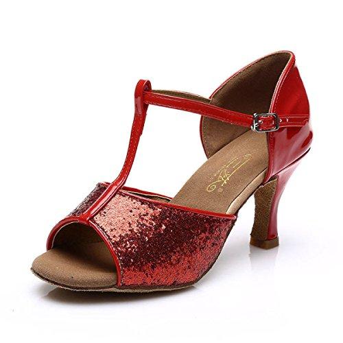 Delle Shoe Professionista Sandali Ballroom Ragazza 38 Satin Della Salsa Superiore Colori Donne Scarpe altri Latino red Dance Med dg7nqq1I