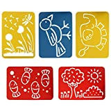 5 PCS Drawing Stencil Kit Creative Children's Kids DIY Cutout Painting Template Drawing Graffiti Wild Animals and Plants Gift for Boys & Girls