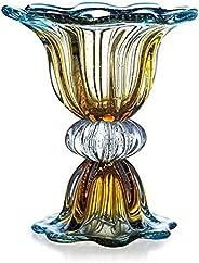 Vaso Em Cristal Murano Azul Assinado São Marcos