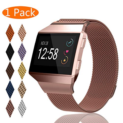 KingAcc Compatible Fitbit Ionic Bands, Milanese Stainless Steel Mesh Metal Replacement Band for Fitbit Ionic, Magnetic Clasp Lock Wristband Strap Women Men (1-Pack, Rose Pink, Small)