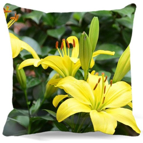 Yellow lily Cotton Polyester Pillow Case Home Soft Cushion Covers 18