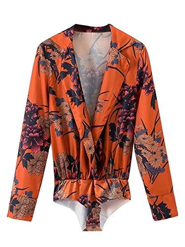 DIDK Women's V Neck Floral Print Long Sleeve Blouse Bodysuit Orange S