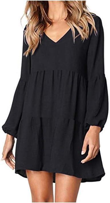 Fashion Womens Ladies Solid Lantern Long Sleeve V-Neck Draped Knee-Length Dress