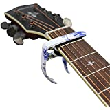 MUKE Metal Guitar Capo Clamp Lightweight Zinc Alloy for 4 String and 6 String Acoustic Guitar, Electric Guitar, Classical Guitar, Ukulele, Banjo Capo (Blue and white porcelain)