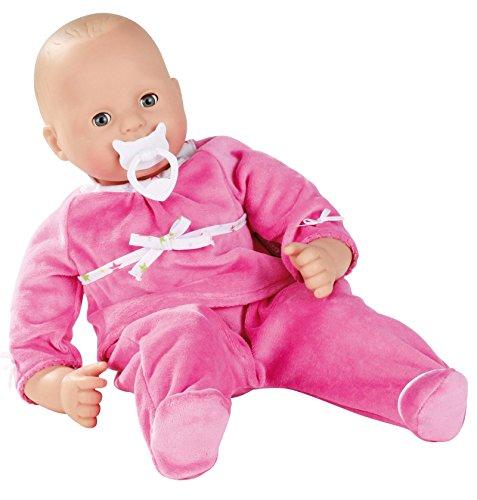 "Gotz Maxy Muffin 16.5"" Bald Baby Doll in Pink Sleeper with Blue Sleeping Eyes"