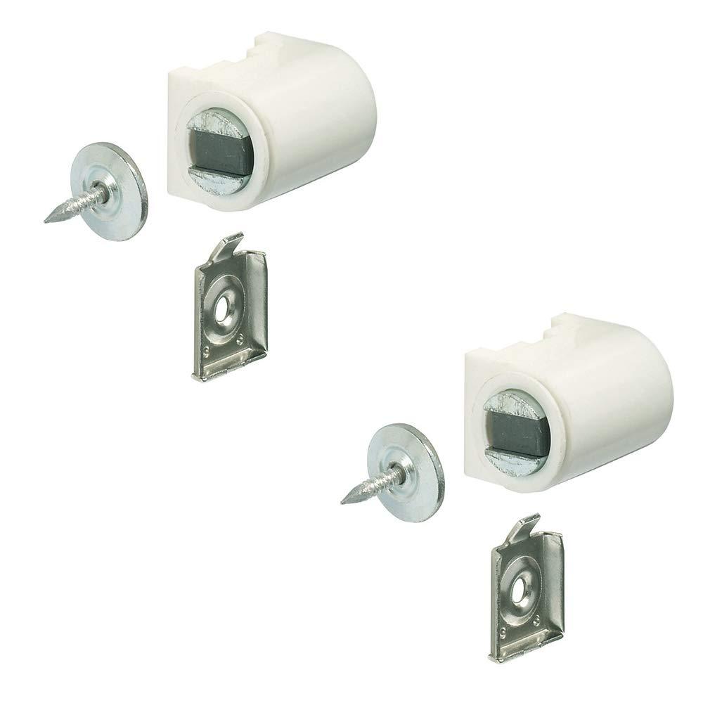 Magnetverschluss weiß mit Anschraubplatte Magnetschnapper Tür zum Schrauben - H2059 | Türmagnet Haftkraft 4, 0 kg | MADE IN GERMANY | 2 Stück mit Gegenplatte Gedotec