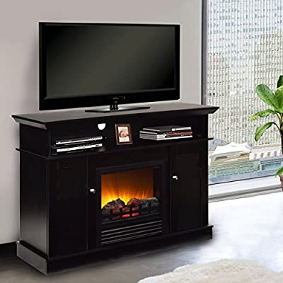 """Tangkula Fireplace TV Stand 42"""" Home Living Room Wooden Media TV Stand Fireplace"""