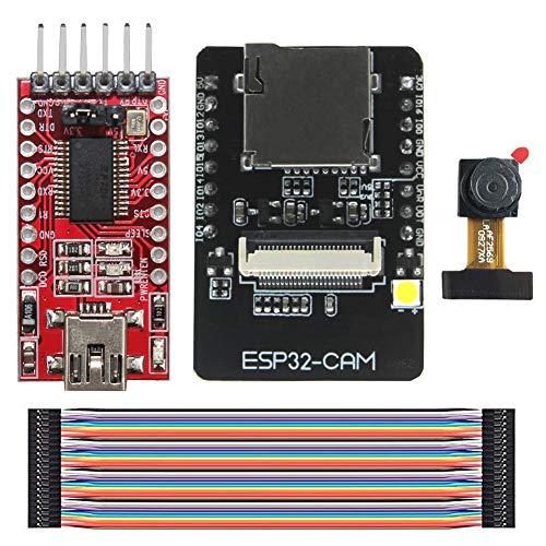 KeeYees ESP32-CAM Camera WiFi + Bluetooth Module 4M PSRAM Dual-core 32-bit CPU Development Board with OV2640 2MP Camera Module + FT232RL FTDI USB to TTL Serial Converter + 40 pin Jumper Wire