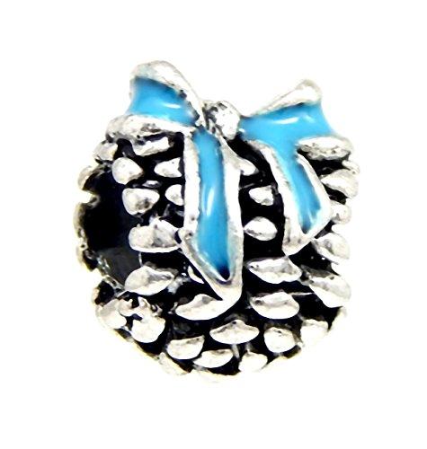 Blue Ribbon Charm - J&M Heart with Blue Ribbon Charm Bead for Charms Bracelets