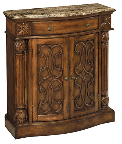 Stein World Furniture William Cabinet, Aged Pecan with Brown Calico Marble (Table World Stein Traditional)