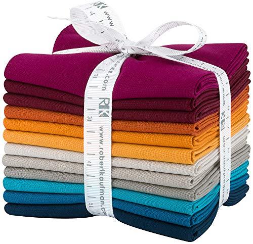 Robert Kaufman Kona Cotton Solids Tuscan Skies Fat Quarter Bundle 12 Precut Cotton Fabric Quilting FQs Assortment FQ-1384-12 ()